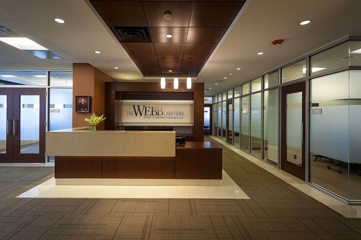 Webb law office reception and lobby for Office area design